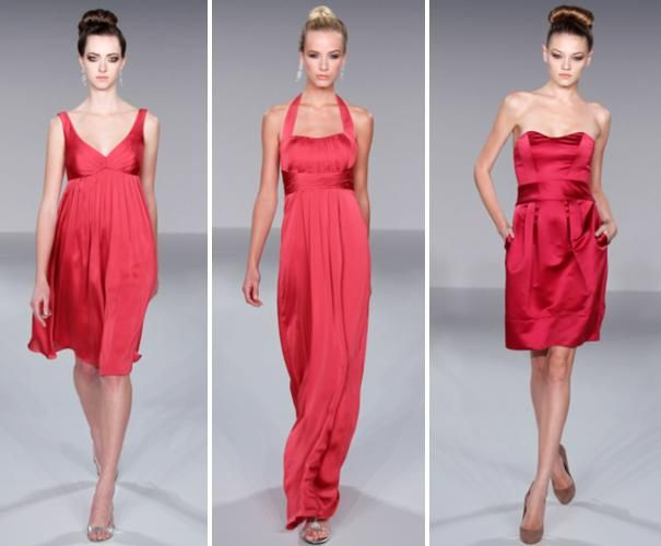 Vibrant dark coral/pink bridesmaids dresses for all types of women
