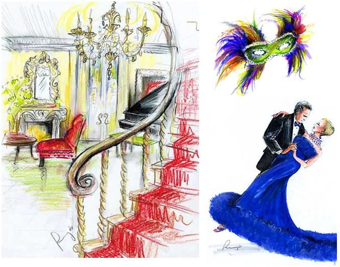 Details at the wedding reception, captured by Rosemary Fanti's live illustration