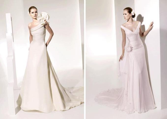 One-shoulder ivory wedding dress with avant garde oversized flower on shoulder