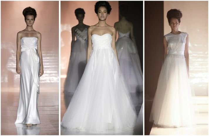 White wedding dresses with clear sequins from David Fielden's Spring 2010 wedding dress collection