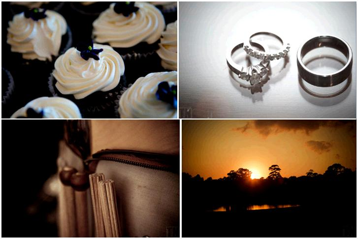 Yummy black and ivory wedding cupcakes diamond and platinum engagement ring