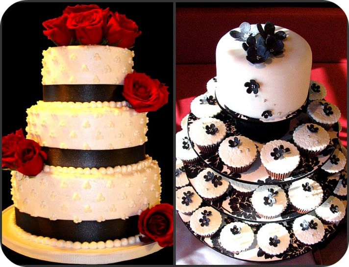 Whether you want a traditional four tiered wedding cake with roses or a modern white cupcake stand,