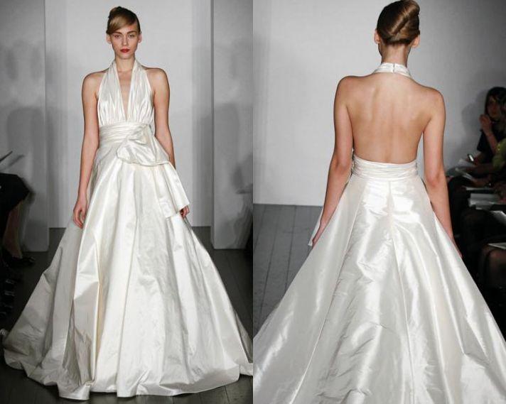 White silk taffeta deep halter wedding dress with low back and full a-line skirt