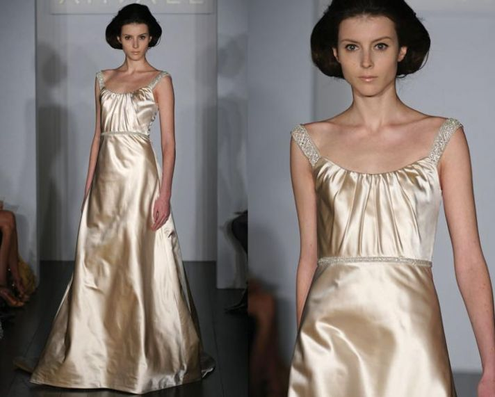Silk dutchess satin wedding dress with draped scoop neckline, and beautiful crystal beaded straps