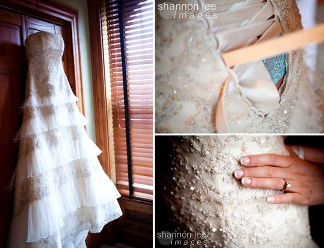 Beautiful vintageinspired ivory beaded strapless wedding dress hangs on