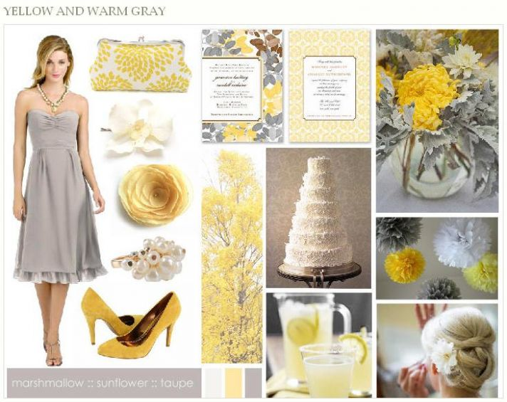A beautiful, chic, and sunny Grey and Yellow Dessy-Pantone style board to inspire you!