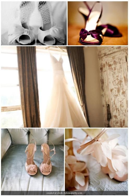Bridal shoes, shoes and more shoes- lovely cream peep toes with beautiful bow, wine-colored slip on