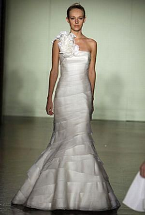 One shoulder mermaid style Melissa Sweet wedding dress with tiered bodice