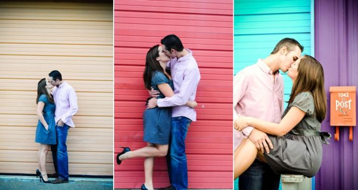 Bride and groom get frisky in vibrant and colorful art park in Talahassee, Florida