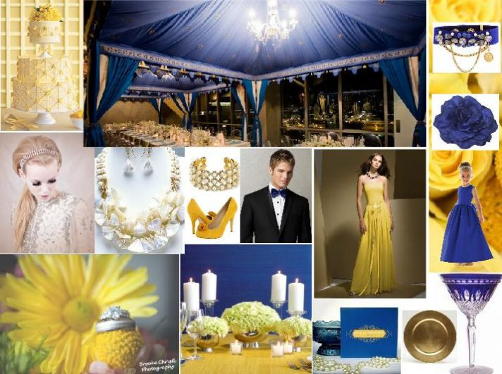 Cobalt Blue is THE hot hue for 2010 weddings, and pairs nicely with bright yellows and golds