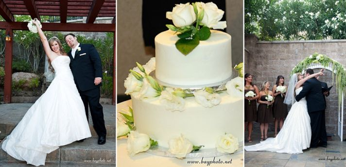 """Bride and groom say """"I Do""""; simple white two tier round wedding cake"""