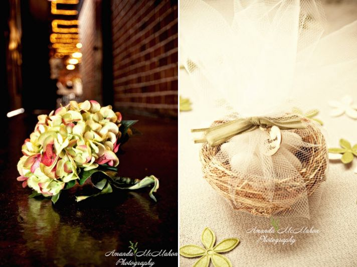 Beautiful green and pink hydrangea bridal bouquet and DIY wedding favors