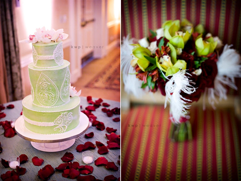Modern chic light green round wedding cake with white lace details