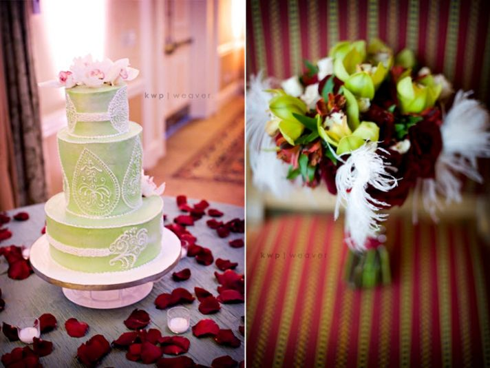 Modern chic light green round wedding cake with white lace details, surrounded by dark red rose peta