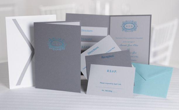 Pewter grey, turquoise and white custom pocket wedding invitations