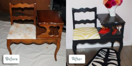 Antique phone bench transformed into a modern piece of furniture