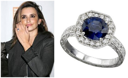 Penelope Cruz sports platinum diamond and sapphire engagement ring