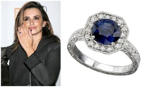 Penelope Cruz sports platinum, diamond and sapphire engagement ring