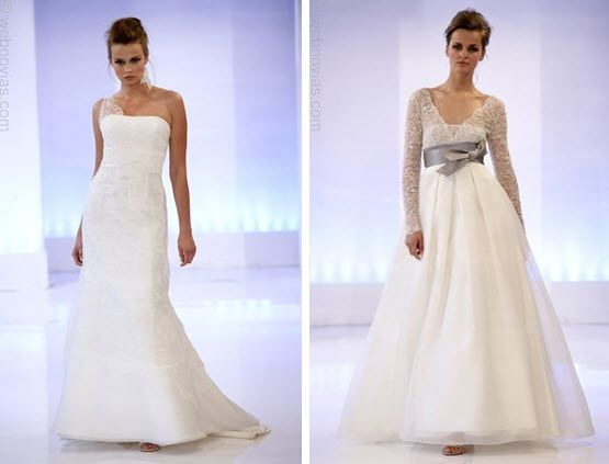 Beautiful a-line Cymbeline wedding dress with long lace sleeves and pewter grey sash