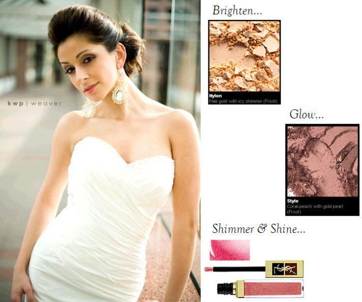 Shimmery cream eyeshadow, pink blush, and glittery hot pink lip gloss create this beautiful bridal f