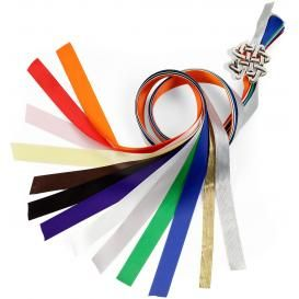 These colorful ribbons are used in a handfasting ceremony