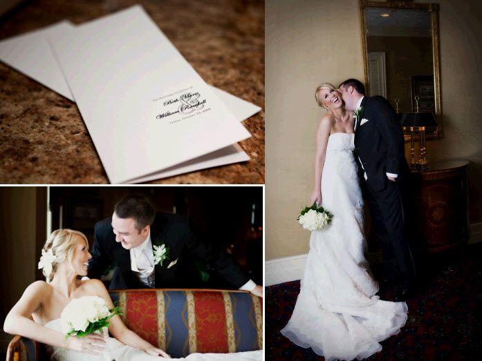 Classic white and black wedding programs; groom kisses beautiful bride