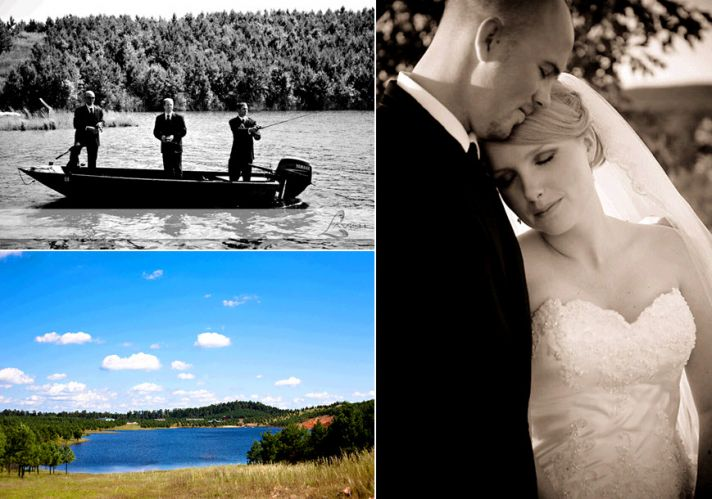 Rustic wedding in Southern Arkansas groomsmen wear tuxedos while fishing on