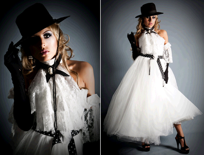 For an edgy bridal look incorporate black accents to the classic white