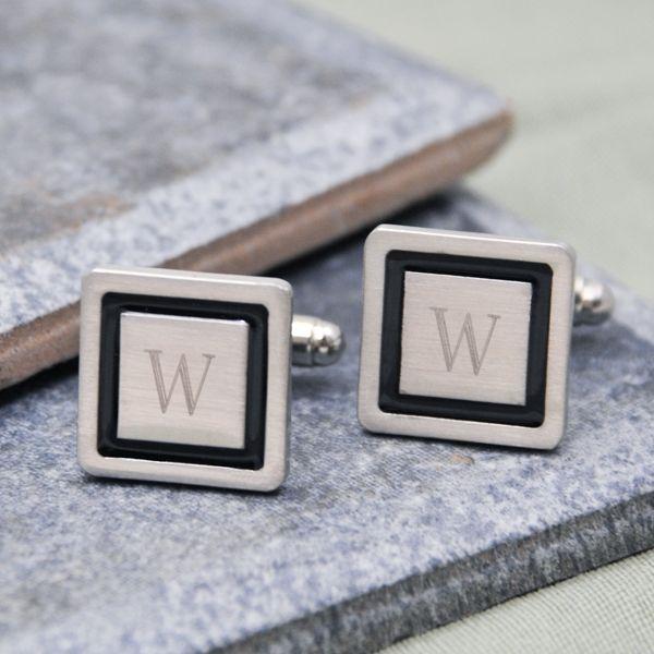 Stylish square designer cuff links with black border