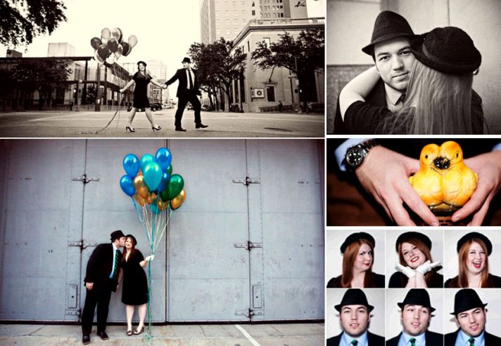 Rad retro engagement session- bride and groom walk hand and hand
