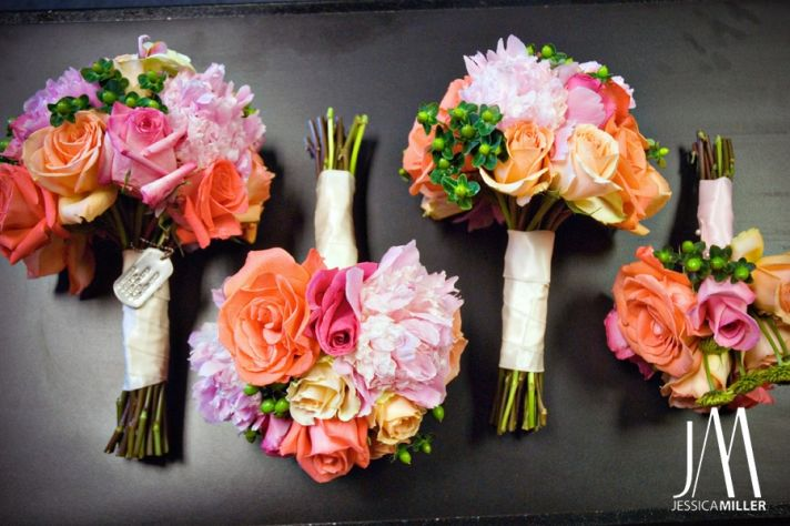 Beautiful vibrant hot pink, light pink, orange and coral bridal and bridesmaids' bouquets