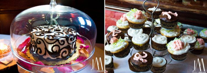 Yummy dessert bar at the low-key wedding reception