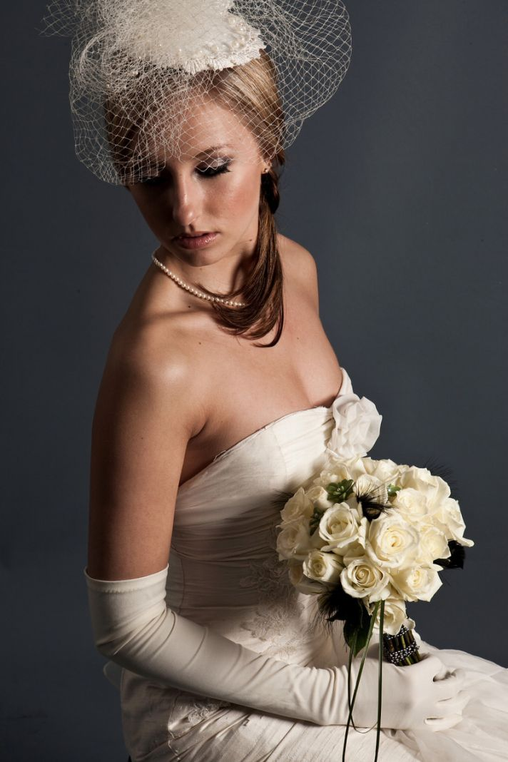 Vintage classic bridal look- birdcage veil, strapless ivory wedding dress, ivory roses bridal bouque