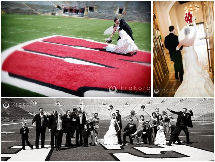 Did you meet your fiance during college?  Show your school spirit with your wedding colors or recept