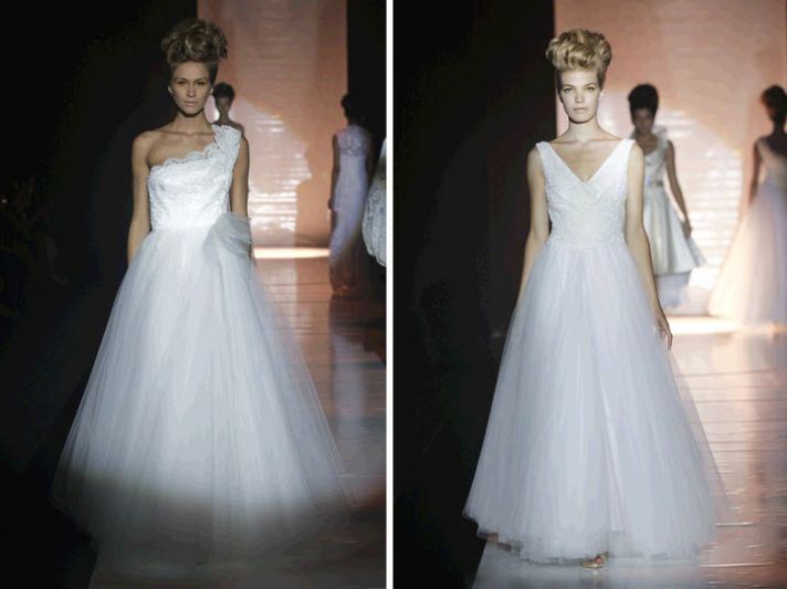 Beautiful white David Fielden wedding dresses- ball gown silhouettes, clouds of tulle