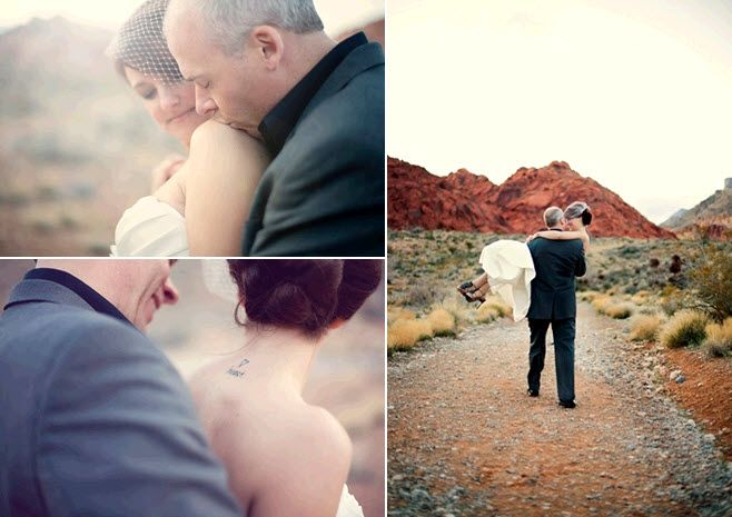 Groom kisses beautiful bride's shoulder during pre-wedding photo session in Nevada desert
