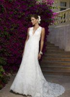 This beautiful white wedding dress features a very deep v neckline.