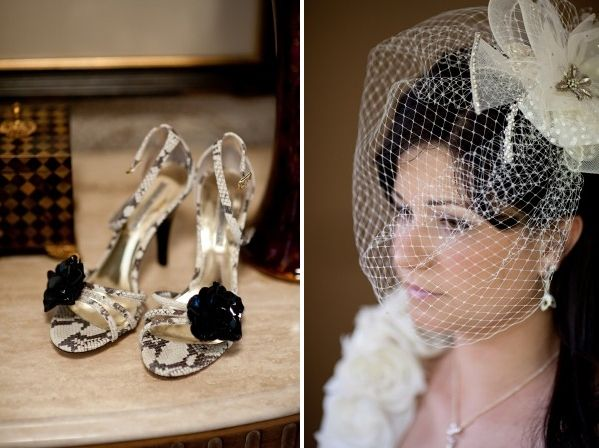 Stylish ivory gold and black open toe bridal heels with black rosette