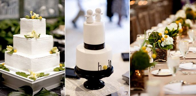 Two white wedding cakes with black, yellow and green accents; long reception tables with yellow and