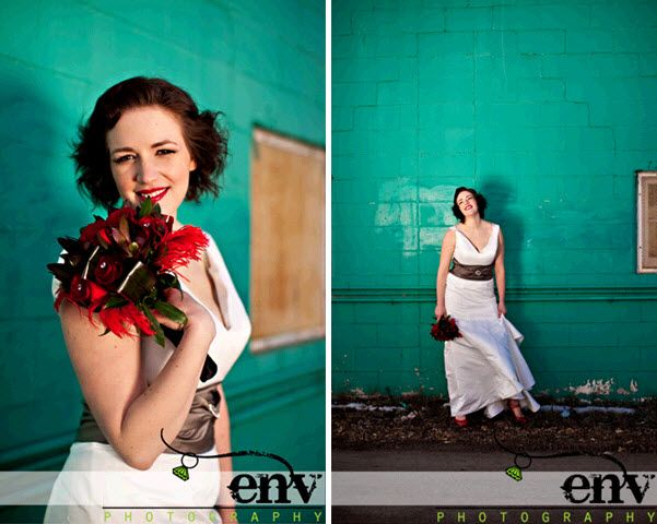 Teal urban backdrop makes retro bride in white wedding dress, red lips and red bridal shoes pop!