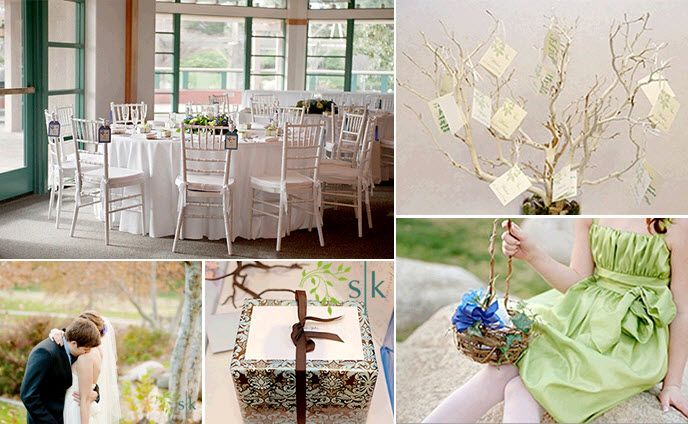 Wedding reception tablescape- lovely white chairs, green, purple, blue floral centerpieces, flower g