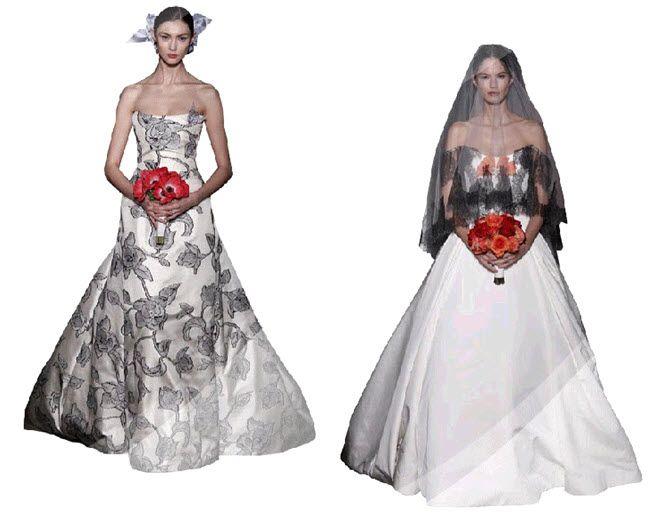 White wedding dress with black floral print by Carolina Herrera