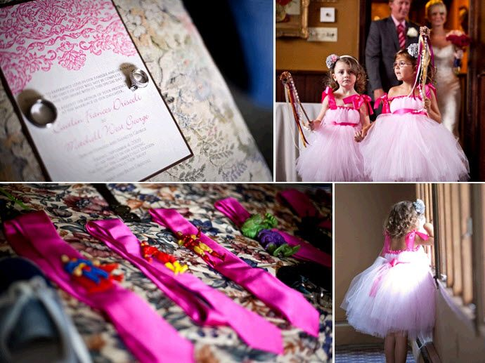 Stunning hot pink, fuchsia, and super hero wedding details from this NJ wedding