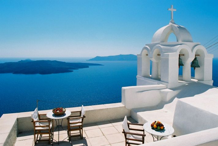 Stunning Santorini with deep blue crystal clear water