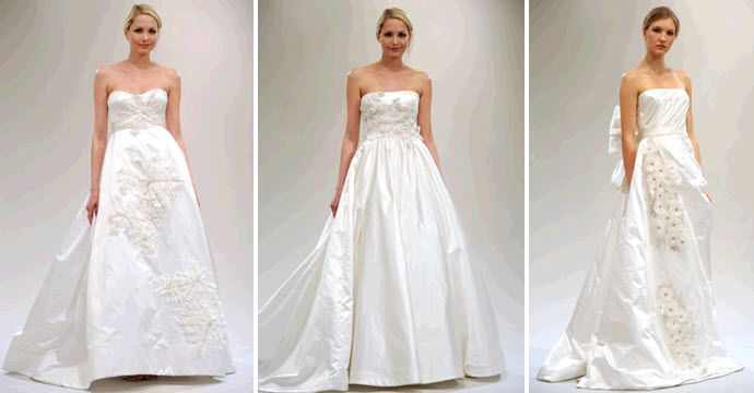 Classic strapless a-line Reem Acra wedding dresses in sumptuous satin fabric