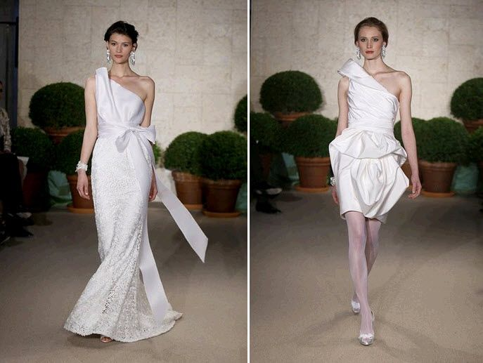 Asymmetric one-shoulder wedding dresses by Oscar de la Renta- long mermaid wedding dress, and knee-l