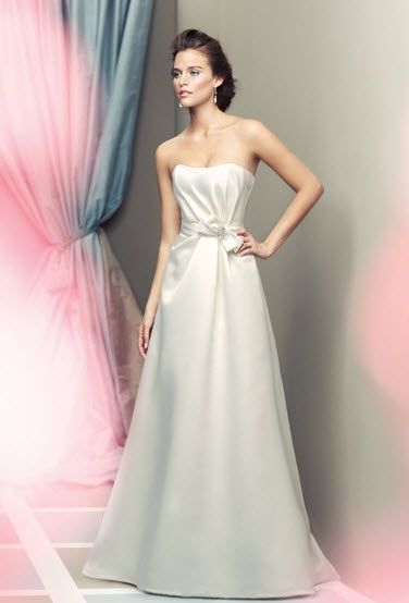 White satin strapless a-line wedding dress with jeweled detail at natural waist