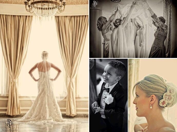 Stunning wedding photo of bride in ivory strapless wedding dress; bridesmaids help bride get ready t