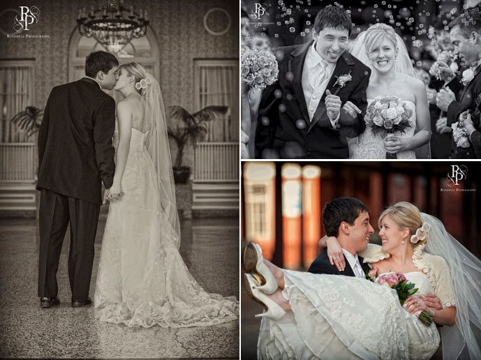 Beautiful vintage bride and handsome dapper groom kiss after becoming husband and wife
