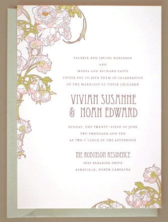 Romantic and vintage-chic pastel wedding invitations